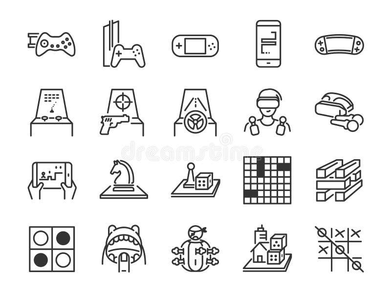 Линия комплект игры и развлечений значка Включил значки как настольная игра, видеоигра, консоль, стрельба, головоломка, handheld, иллюстрация штока