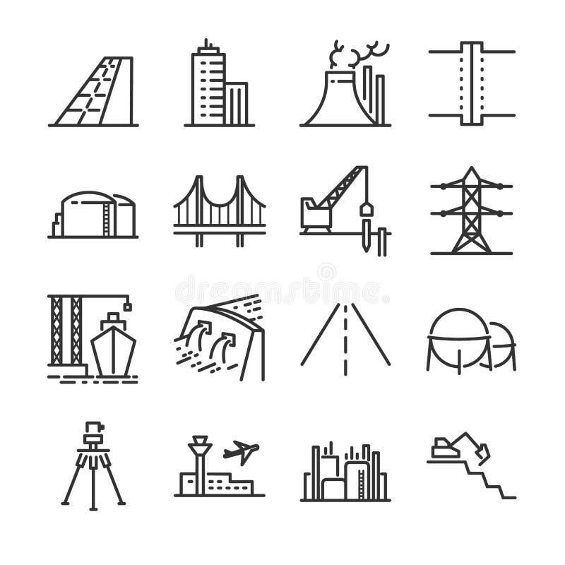 Линия комплект инженерства значка Включил значки как здание, запруда, промышленное, силосохранилище, электростанция, имущество и  иллюстрация вектора