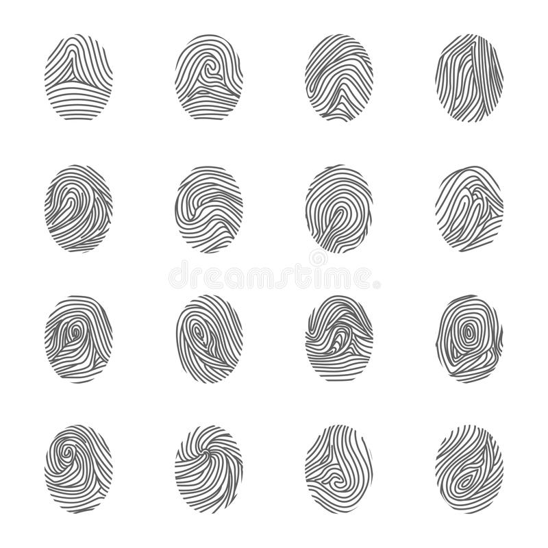 Линия комплект различной уникально черноты отпечатков пальцев тонкая значка вектор иллюстрация вектора