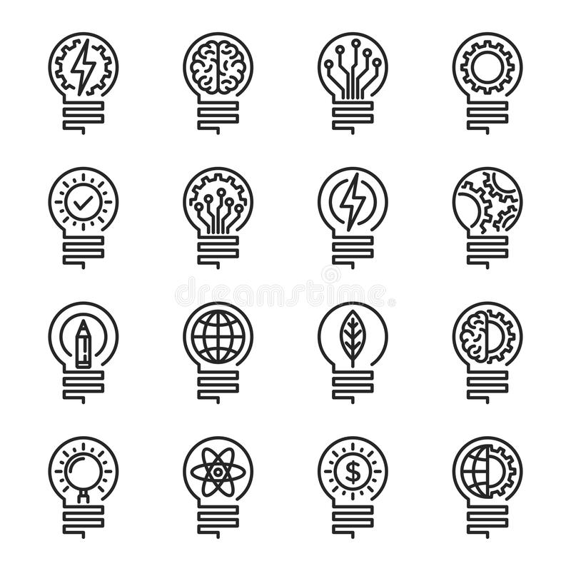 Линия комплект лампочки тонкая значка Editable ход Illustrati вектора иллюстрация вектора