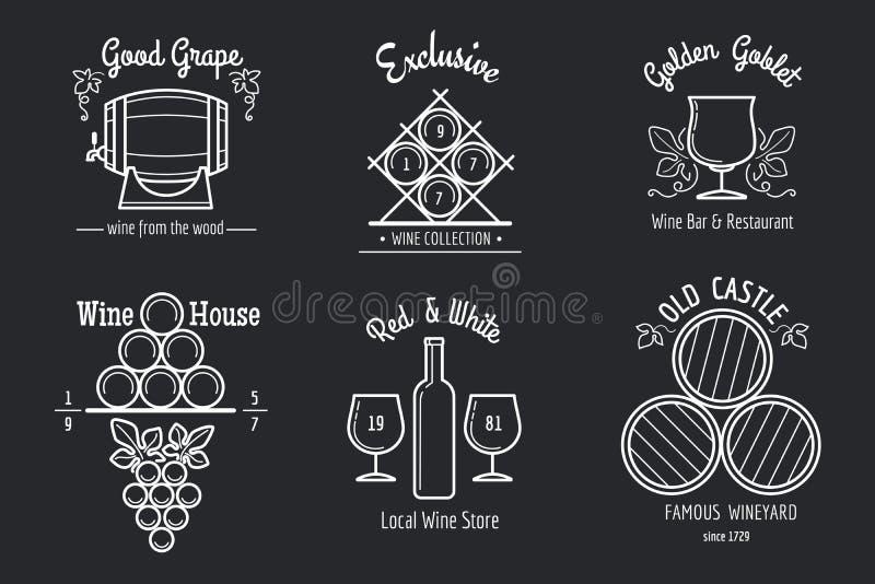 Линия комплект вина логотипа бесплатная иллюстрация