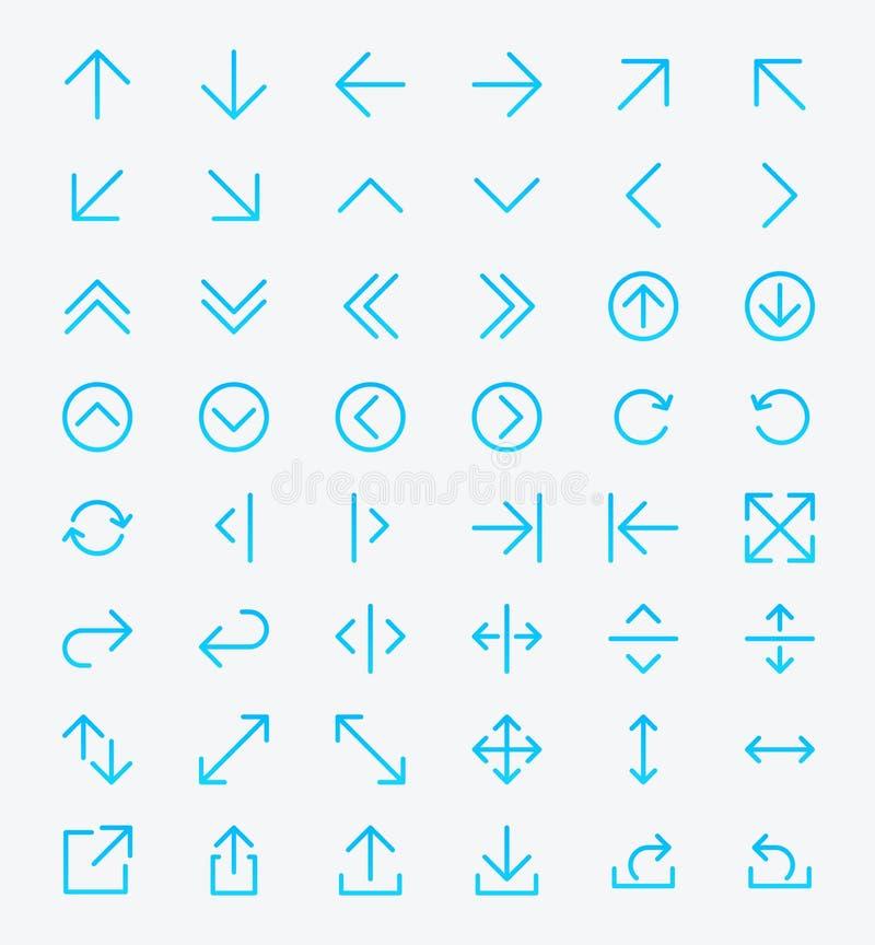 Линия комплект значка стрелки иллюстрация вектора