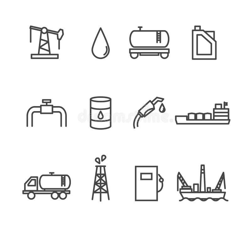 Линия комплект индустрии масла и нефти значка иллюстрация штока
