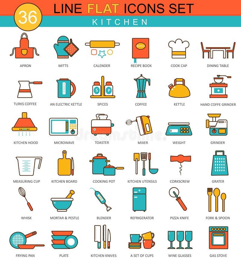 Линия комплект кухни вектора плоская значка Современный дизайн элегантного стиля для сети иллюстрация вектора
