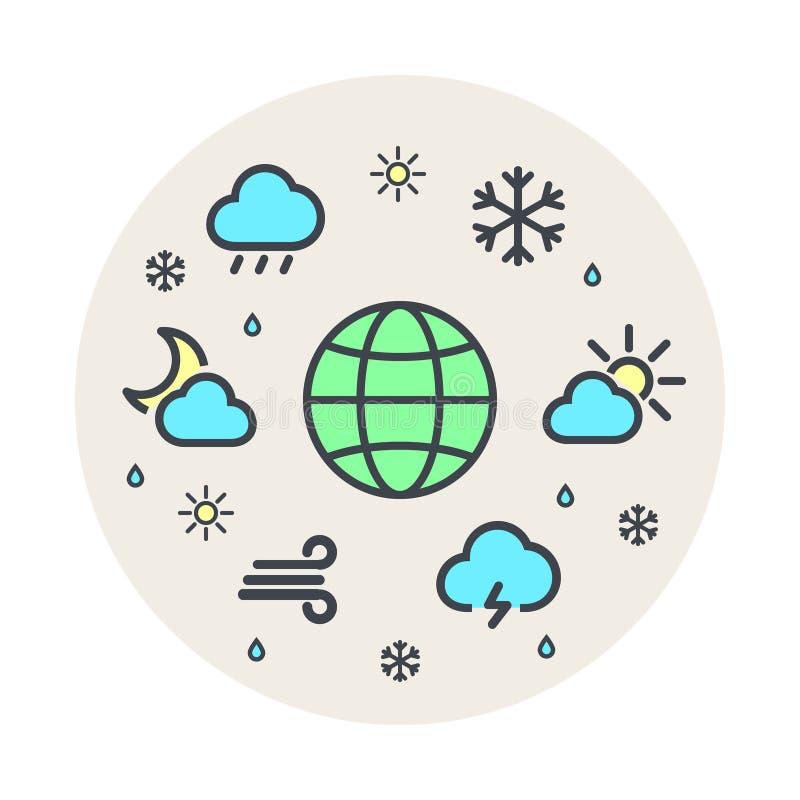 Линия комплект мира погоды и планеты климата круга вектора значка Серая предпосылка Круг значков иллюстрация штока