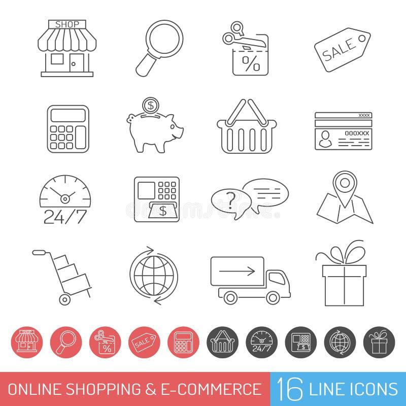 Линия комплект покупок значка иллюстрация штока
