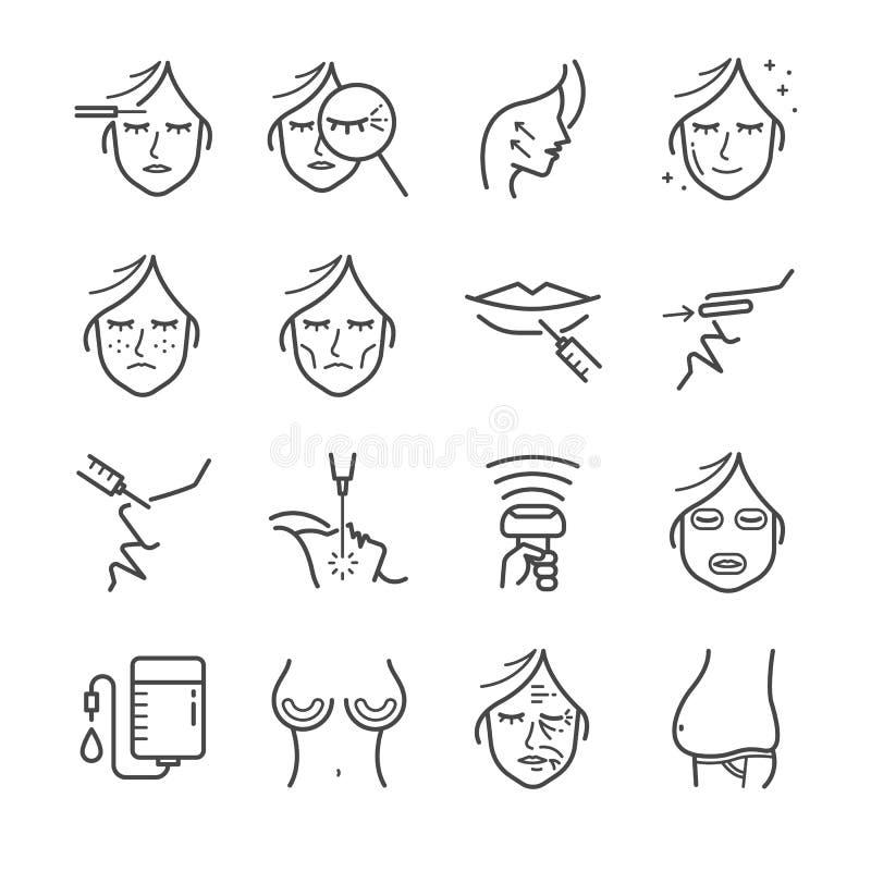 Линия комплект пластической хирургии значка Включил значки как морщинка, вызревание, botox, живот, целлюлит и больше иллюстрация штока
