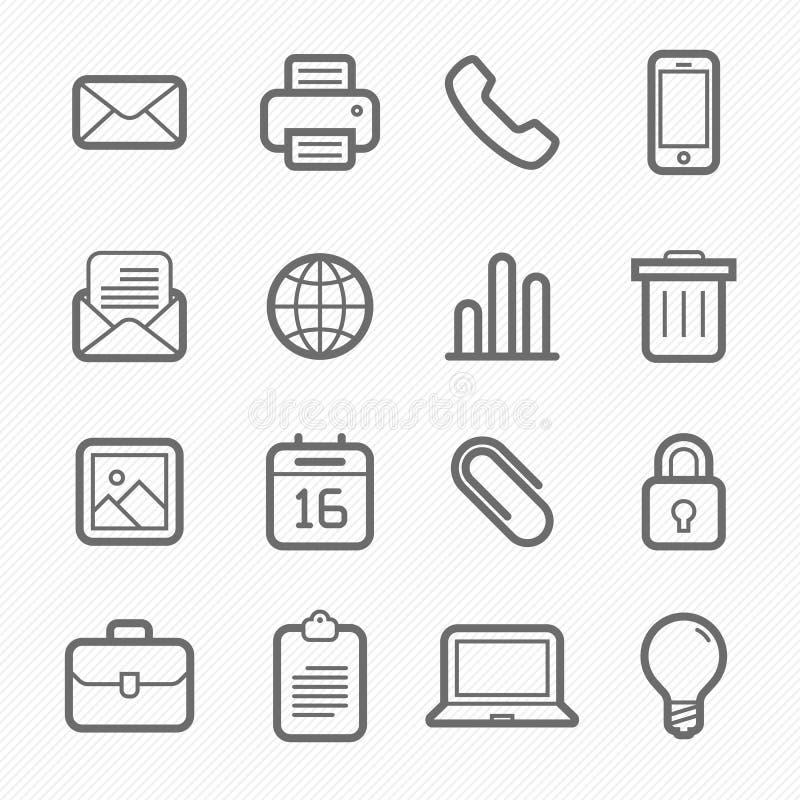 Линия комплект символа элементов офиса значка иллюстрация вектора