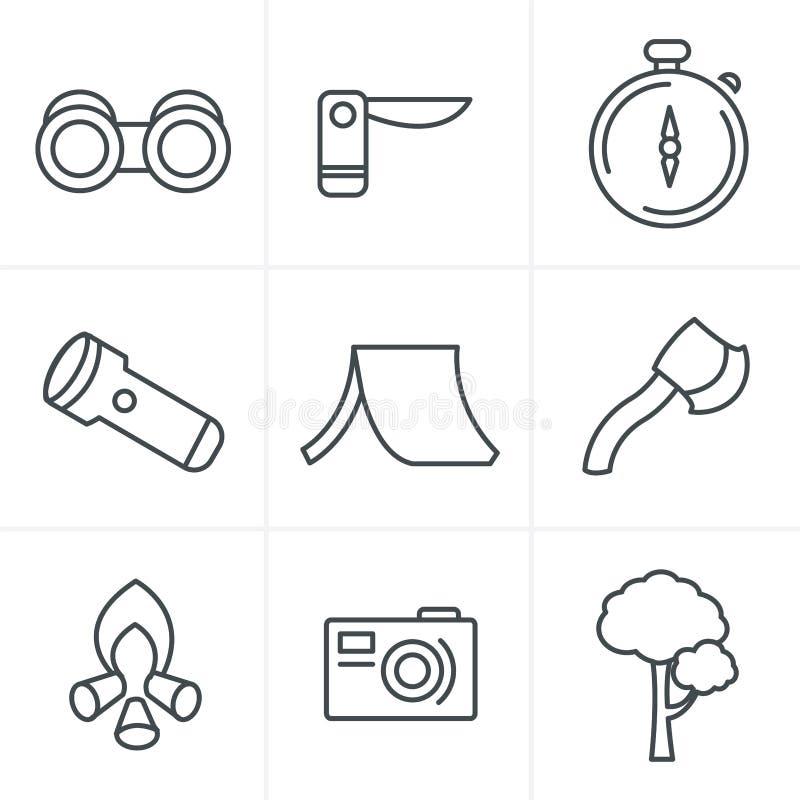 Линия комплект темы вектора стиля значков черный располагаясь лагерем иллюстрация штока