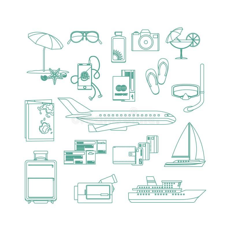 Линия комплект туризма значка искусства иллюстрация вектора