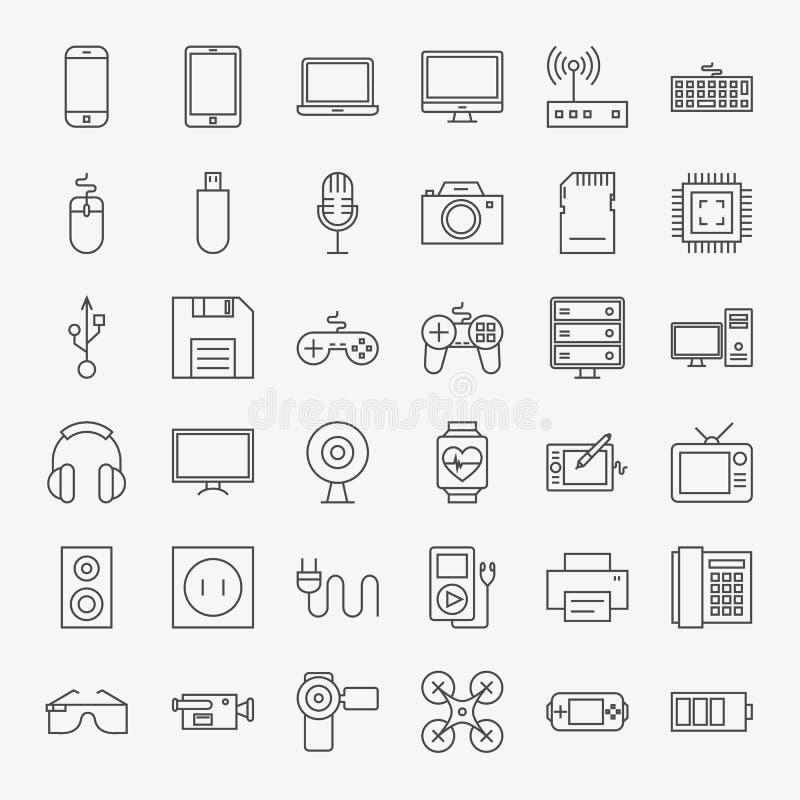 Линия комплект устройств и приборов значков дизайна искусства большой бесплатная иллюстрация