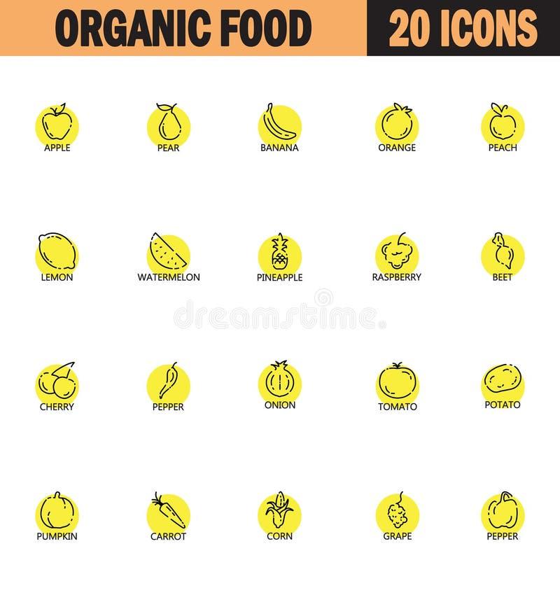 Линия комплект фрукта и овоща значка бесплатная иллюстрация