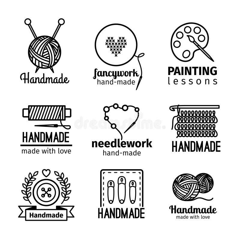 Линия комплект Handmade мастерской тонкая логотипа иллюстрация штока