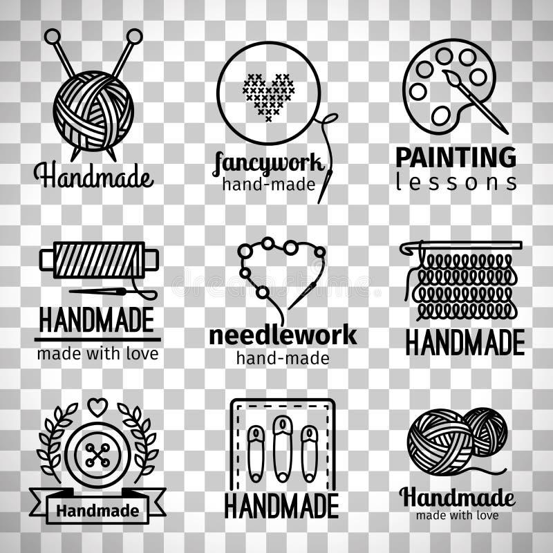 Линия комплект Handmade мастерской тонкая логотипа бесплатная иллюстрация