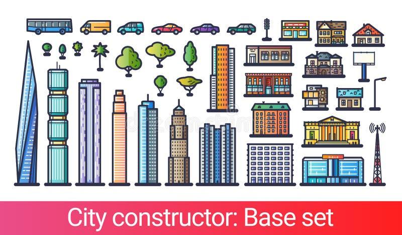 Линия конструктора города плоская иллюстрация штока