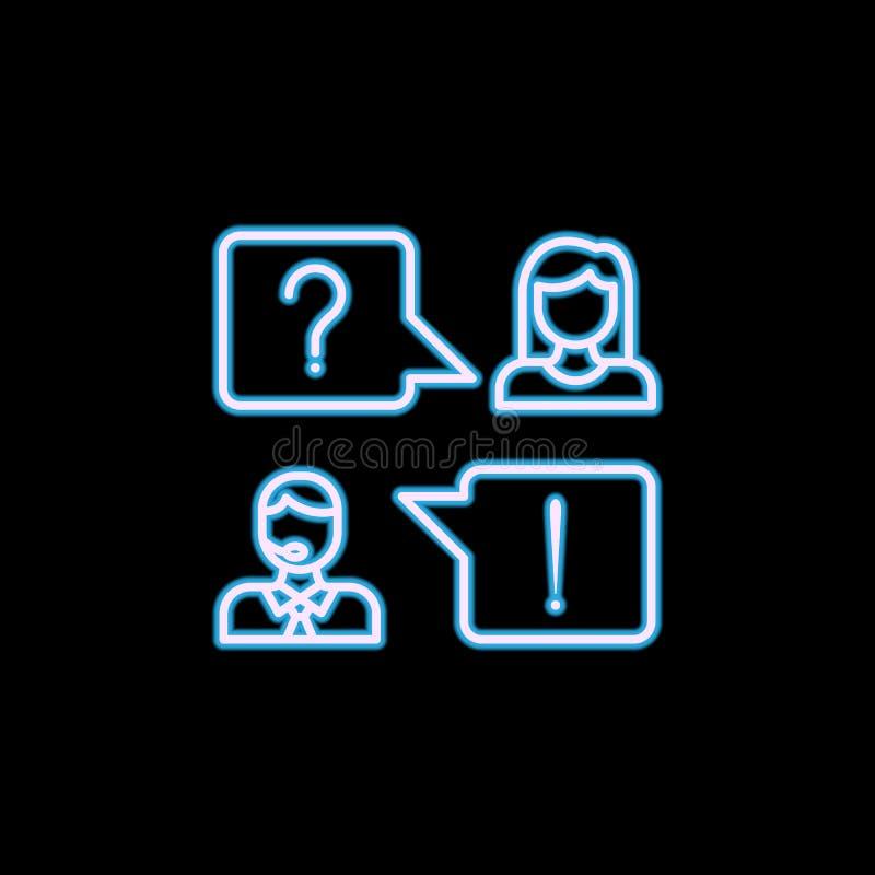 линия консультативной службы значок в неоновом стиле Одно значка собрания HR можно использовать для UI, UX бесплатная иллюстрация