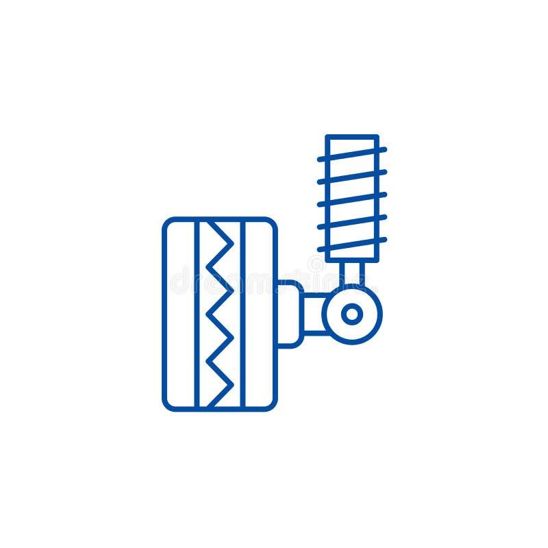 Линия концепция автошины приспосабливая значка Автошина приспосабливая плоский символ вектора, знак, иллюстрацию плана иллюстрация вектора