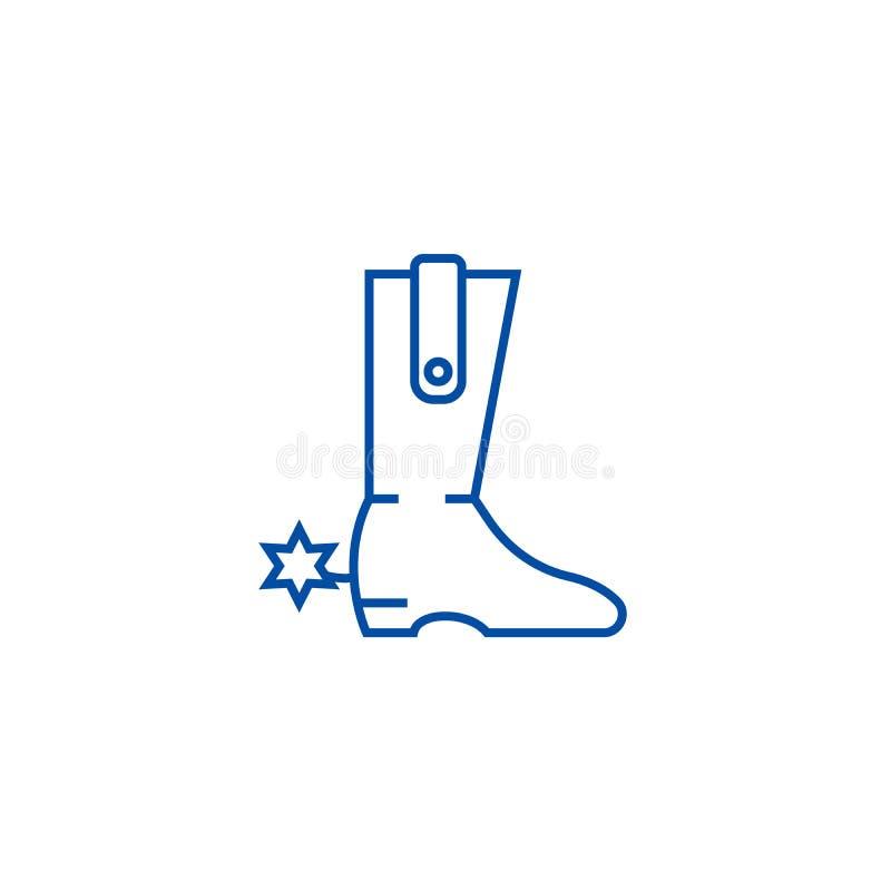 Линия концепция ботинка ковбоя значка Символ вектора ботинка ковбоя плоский, знак, иллюстрация плана бесплатная иллюстрация