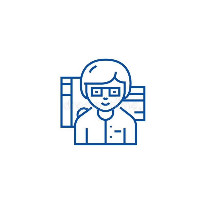 Линия концепция бухгалтера значка Символ вектора бухгалтера плоский, знак, иллюстрация плана бесплатная иллюстрация