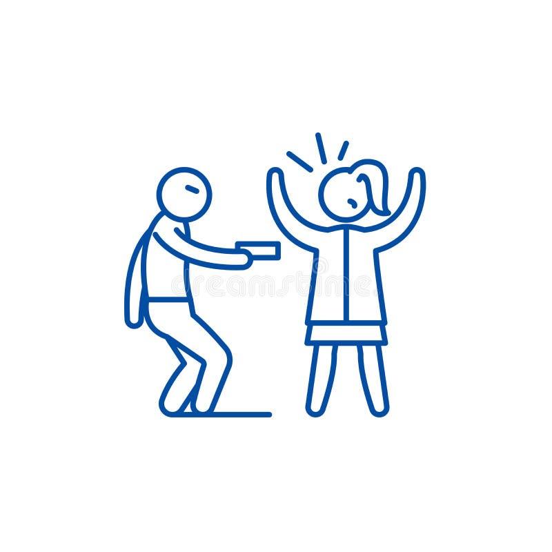 Линия концепция вооруженного ограбления значка Символ вектора вооруженного ограбления плоский, знак, иллюстрация плана иллюстрация вектора