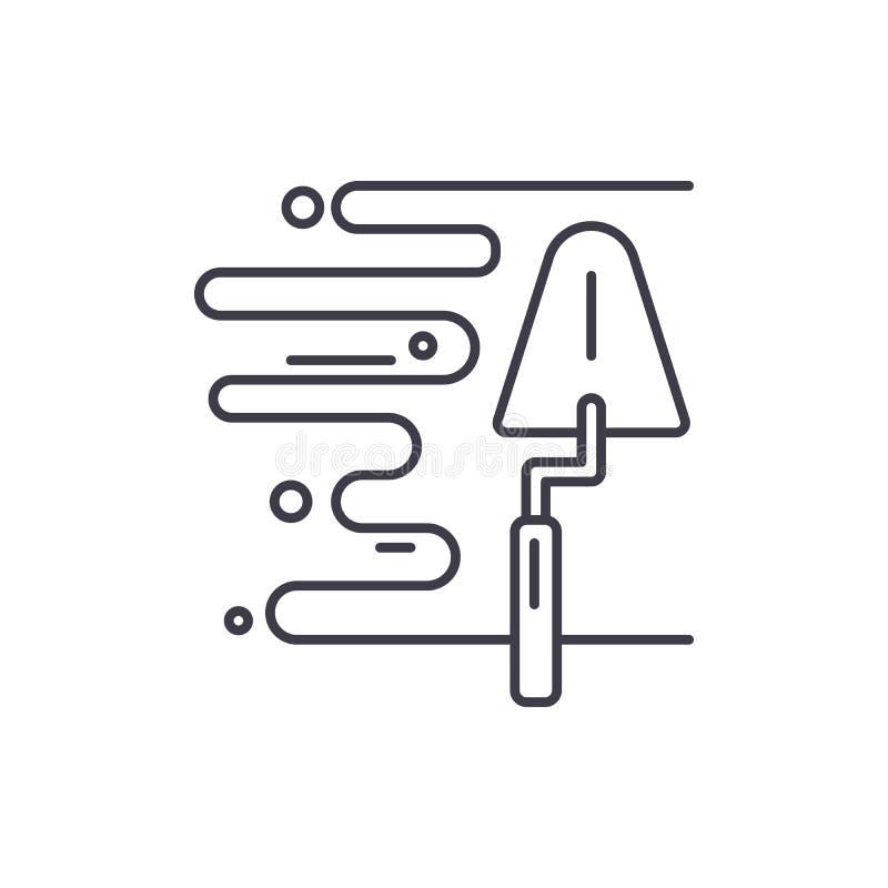 Линия концепция гипсолита стены значка Иллюстрация вектора гипсолита стены линейная, символ, знак бесплатная иллюстрация