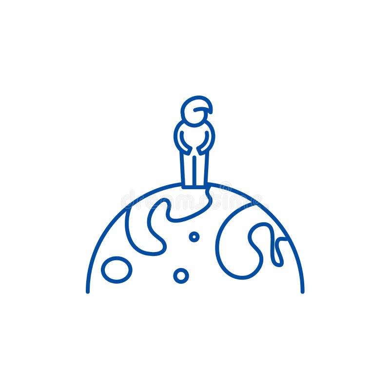 Линия концепция гражданина мира значка Символ вектора гражданина мира плоский, знак, иллюстрация плана иллюстрация штока