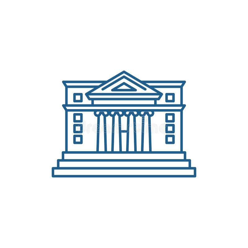 Линия концепция здание муниципалитета значка Символ вектора городской ратуши плоский, знак, иллюстрация плана иллюстрация штока