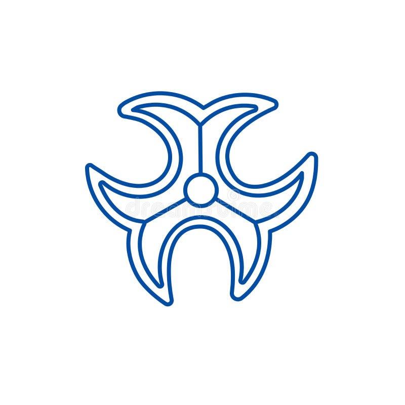Линия концепция знака Biohazard значка Символ вектора знака Biohazard плоский, знак, иллюстрация плана иллюстрация штока