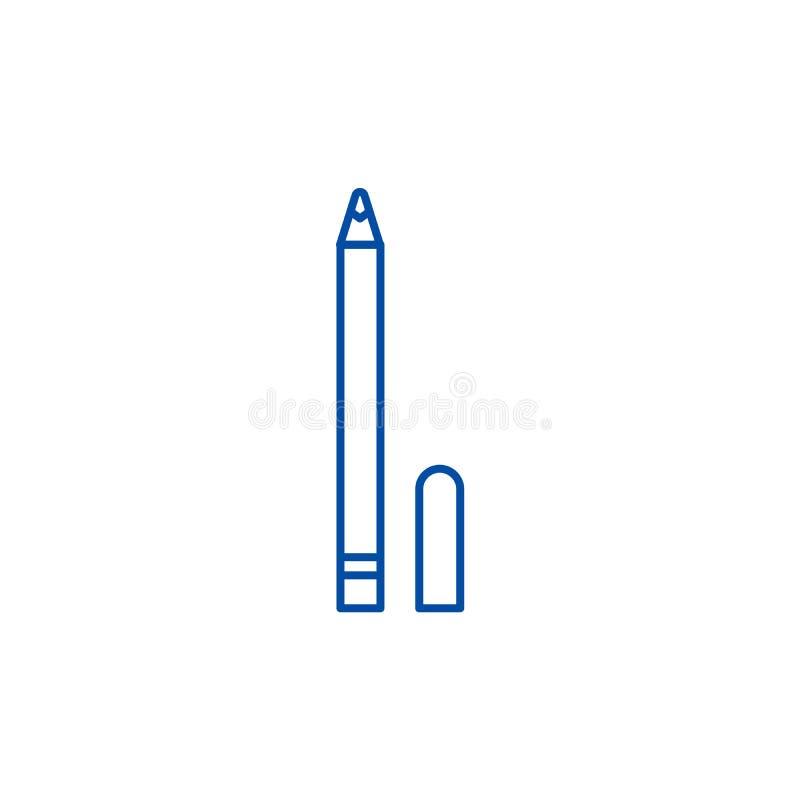 Линия концепция карандаша глаза значка Символ вектора карандаша глаза плоский, знак, иллюстрация плана бесплатная иллюстрация