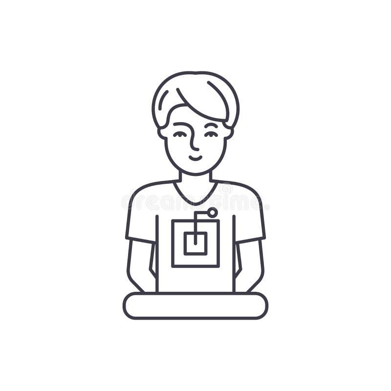 Линия концепция компьютерного специалиста значка Иллюстрация вектора компьютерного специалиста линейная, символ, знак иллюстрация штока