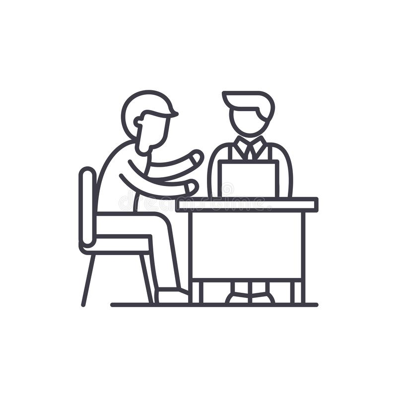 Линия концепция консультаций по бизнесу значка Иллюстрация вектора консультаций по бизнесу линейная, символ, знак бесплатная иллюстрация