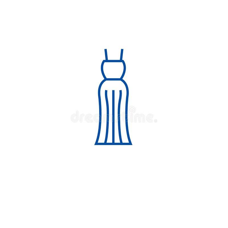 Линия концепция мантии вечера значка Символ вектора мантии вечера плоский, знак, иллюстрация плана бесплатная иллюстрация