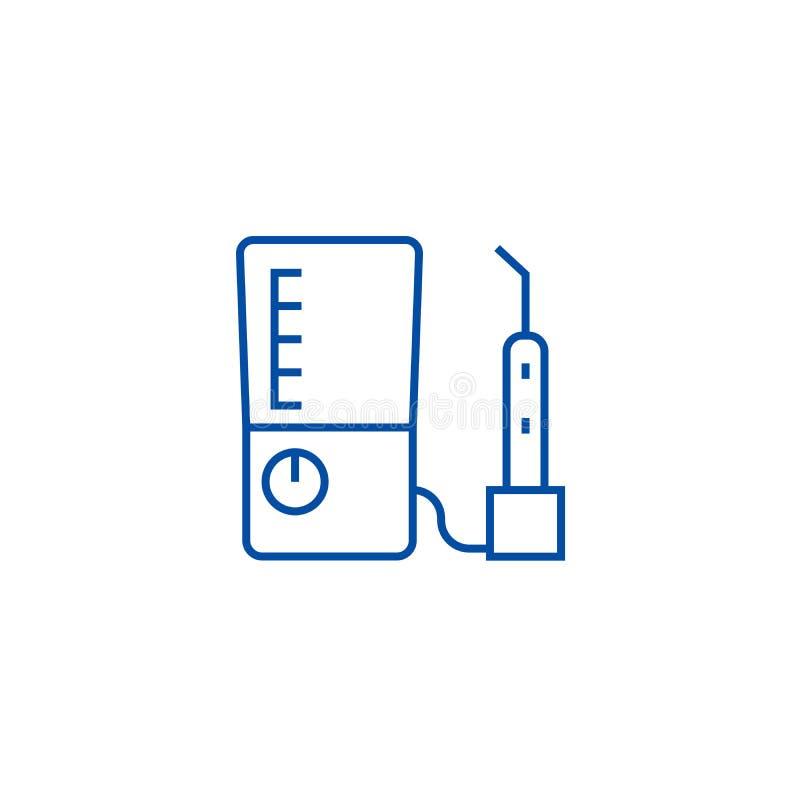 Линия концепция машины зуба сверля значка Символ вектора машины зуба сверля плоский, знак, иллюстрация плана иллюстрация вектора