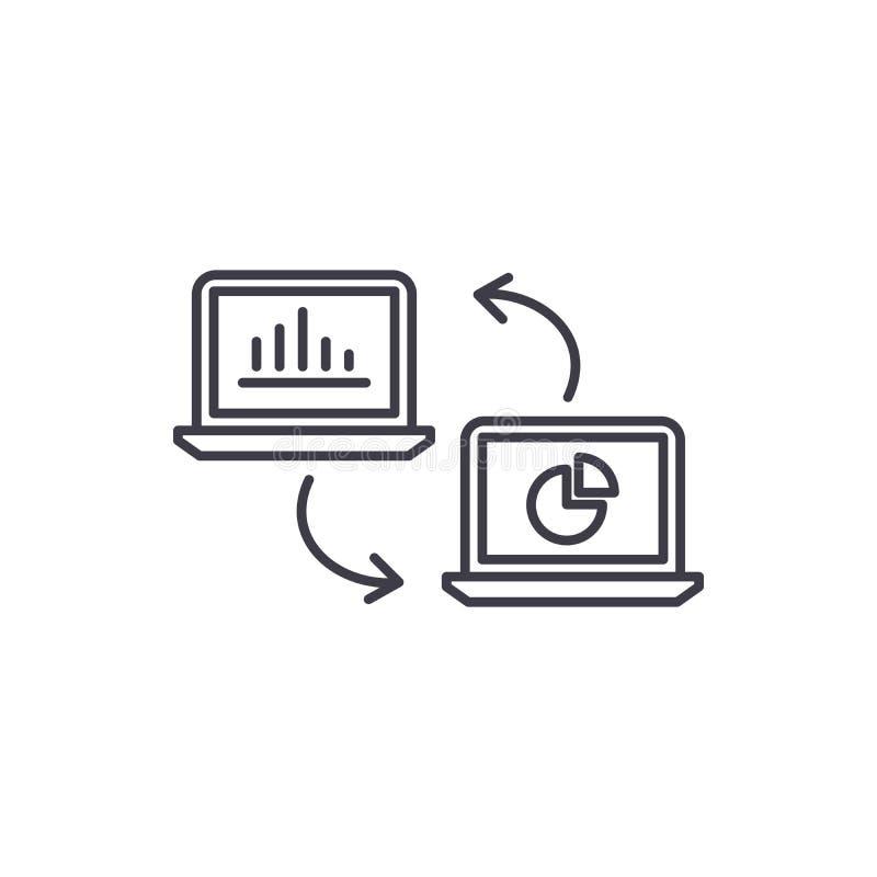 Линия концепция обновления данных значка Иллюстрация вектора обновления данных линейная, символ, знак иллюстрация штока