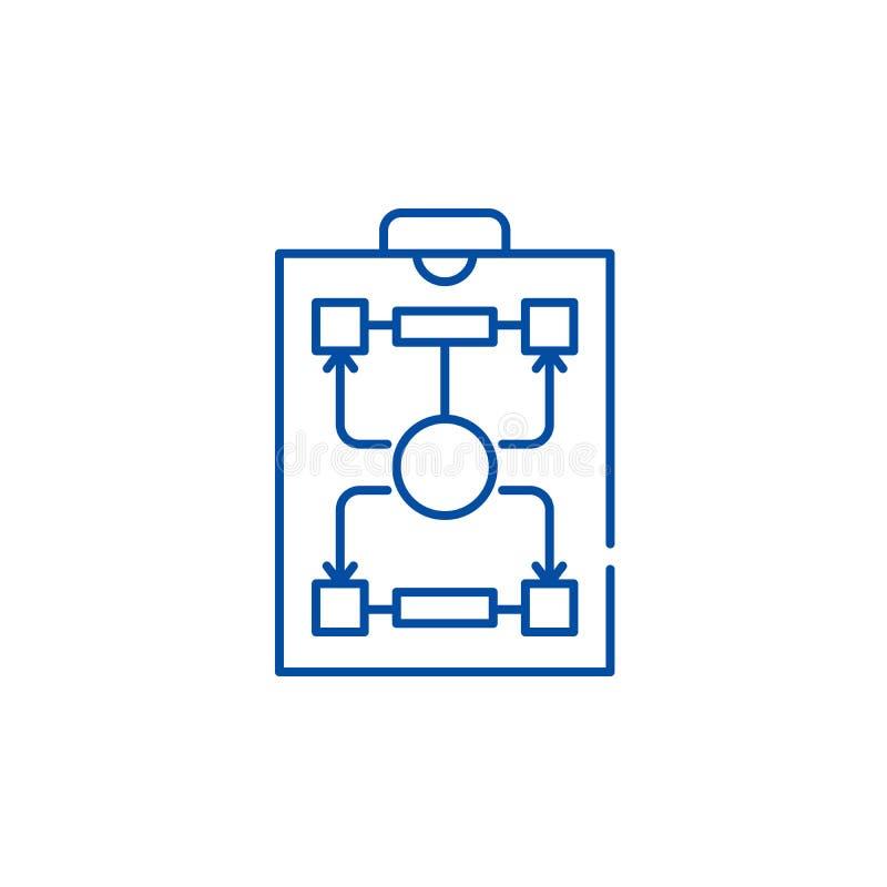 Линия концепция организационной структуры значка Символ вектора организационной структуры плоский, знак, иллюстрация плана иллюстрация штока