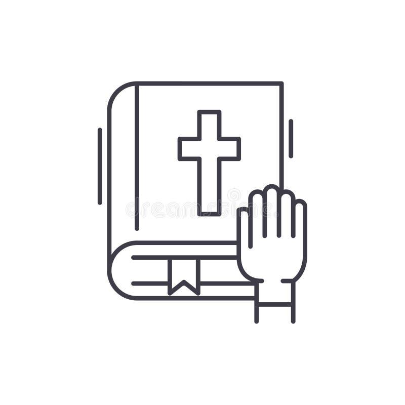 Линия концепция присяги значка Иллюстрация вектора присяги линейная, символ, знак бесплатная иллюстрация