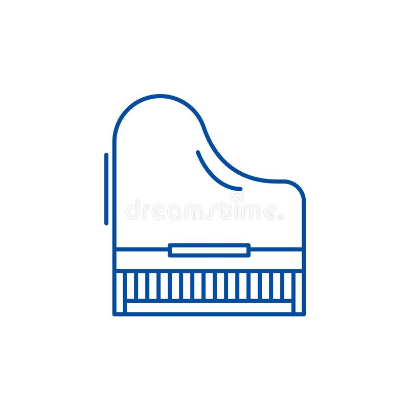 Линия концепция рояля значка Символ вектора рояля плоский, знак, иллюстрация плана иллюстрация вектора