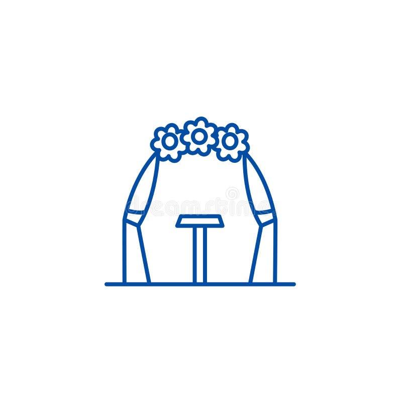 Линия концепция свода свадьбы значка Символ вектора свода свадьбы плоский, знак, иллюстрация плана иллюстрация вектора