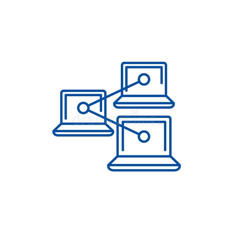 Линия концепция сети работы компьютера значка Символ вектора сети работы компьютера плоский, знак, иллюстрация плана бесплатная иллюстрация