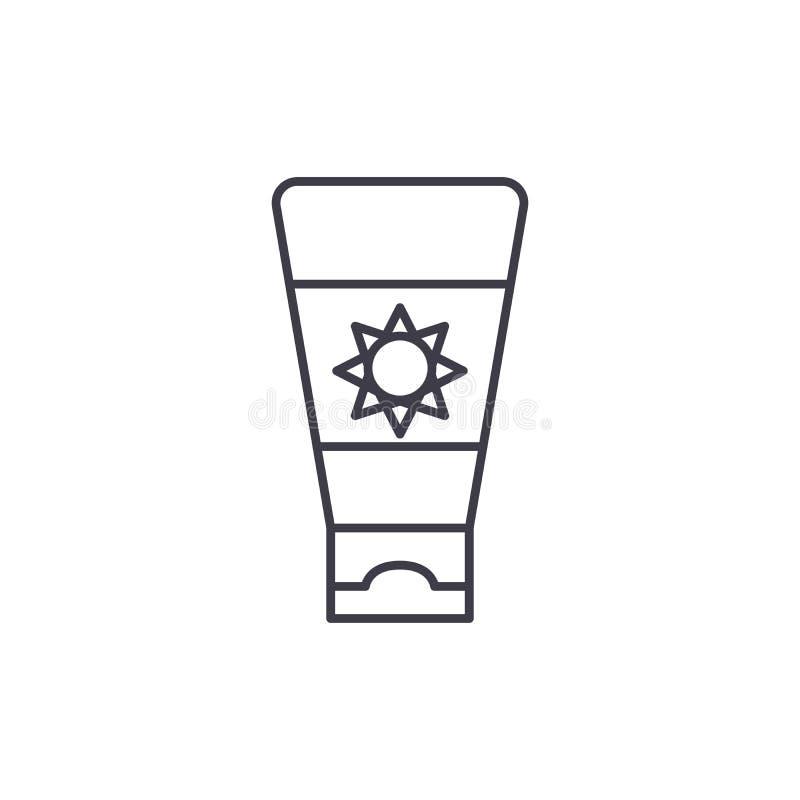 Линия концепция сливк солнцезащитного крема значка Иллюстрация вектора сливк солнцезащитного крема линейная, символ, знак иллюстрация вектора