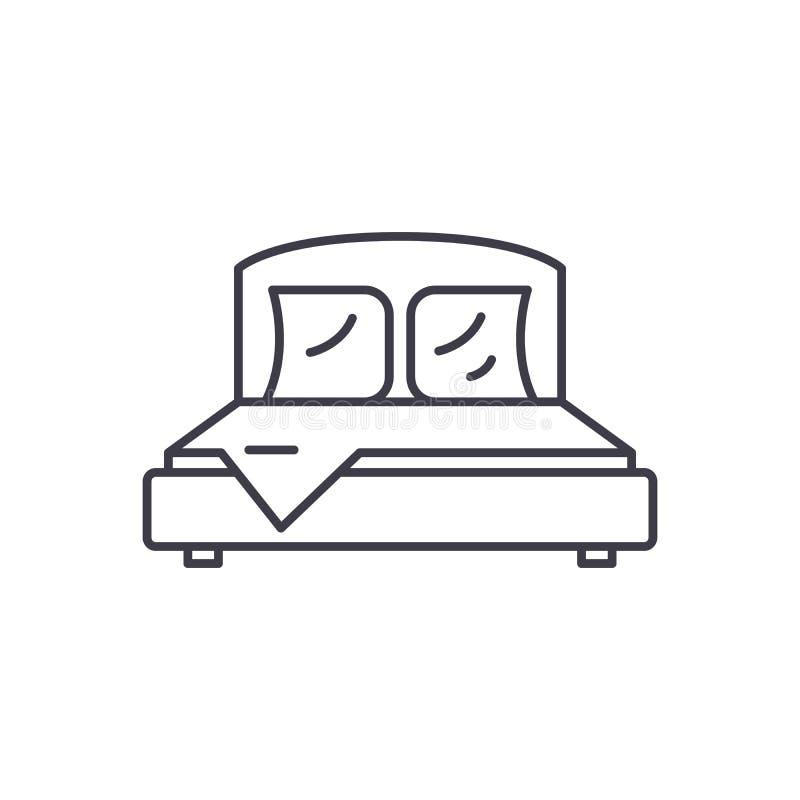 Линия концепция спальни значка Иллюстрация вектора спальни линейная, символ, знак иллюстрация штока