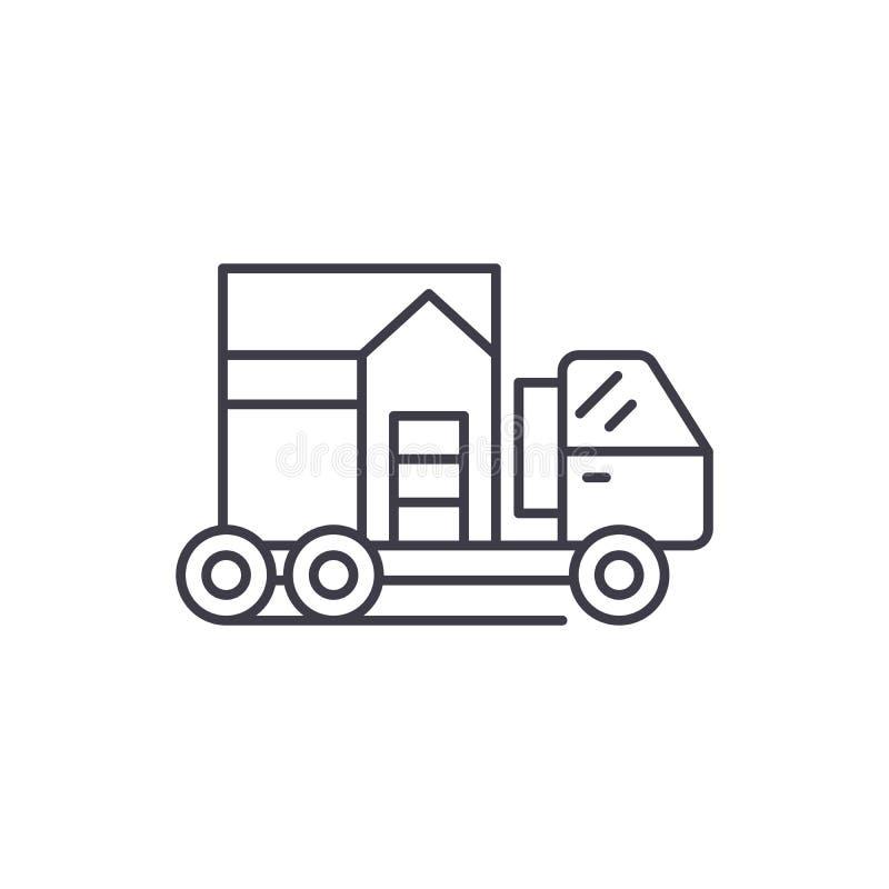 Линия концепция транспорта дома значка Иллюстрация вектора транспорта дома линейная, символ, знак бесплатная иллюстрация