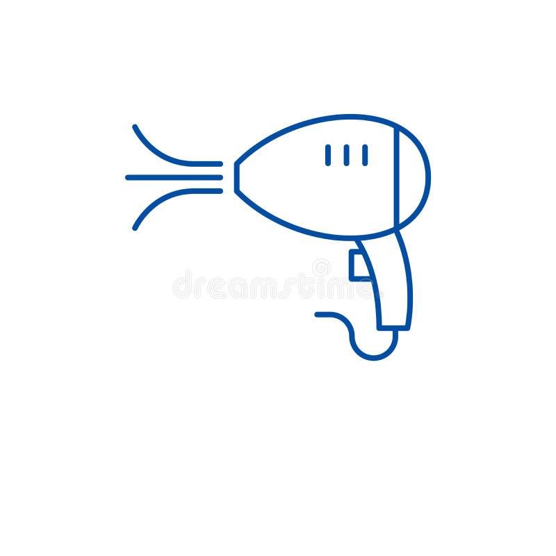 Линия концепция фена для волос значка Символ вектора фена для волос плоский, знак, иллюстрация плана иллюстрация штока