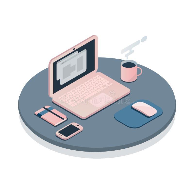 Линия концепция цвета плоская рабочего места иллюстрация вектора