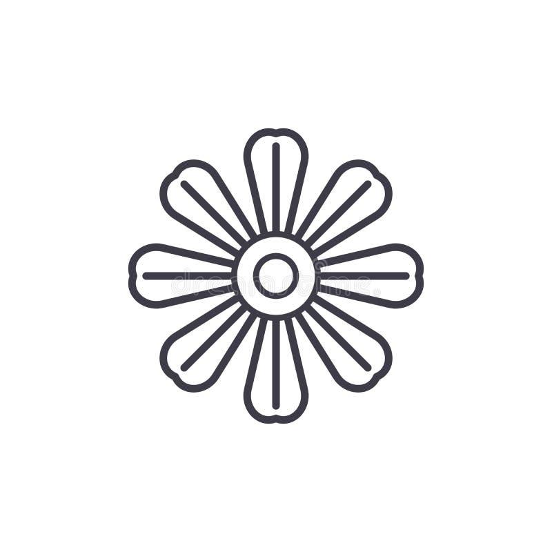 Линия концепция цветка маргаритки значка Знак вектора цветка маргаритки плоский, символ, иллюстрация бесплатная иллюстрация