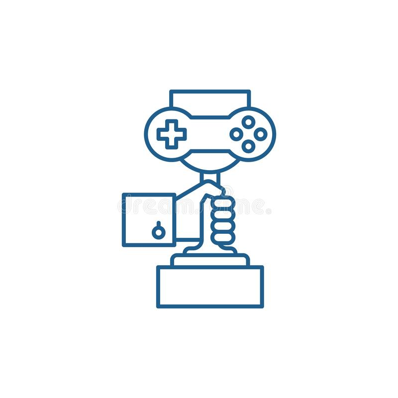 Линия концепция чемпионата компютерных игр значка Символ вектора чемпионата компютерных игр плоский, знак, план иллюстрация вектора
