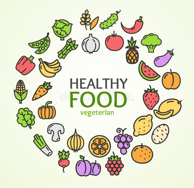 Линия концепция шаблона дизайна здорового цвета магазина Eco еды круглая значка вектор бесплатная иллюстрация