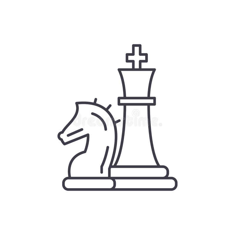 Линия концепция шахматных фигур, рыцаря и ферзя значка Иллюстрация вектора шахматных фигур, рыцаря и ферзя линейная, символ иллюстрация штока