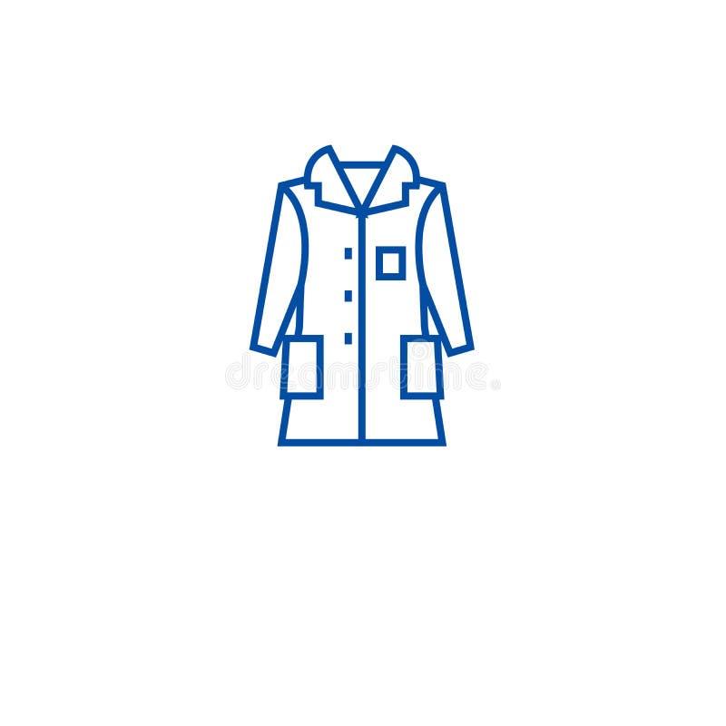 Линия концепция шинели человека значка Символ вектора шинели человека плоский, знак, иллюстрация плана иллюстрация штока