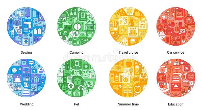 Линия концепция шить, располагаясь лагерем, круиз круглого цвета плоская перемещения, обслуживание автомобиля, лето, свадьба, раз иллюстрация вектора